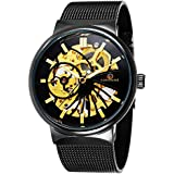 Sweetbless Wristwatches Men Boy Hollow Out Handwind Mechanical Watch