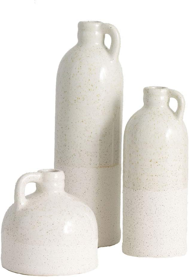 Sullivans Small Ceramic Jug Set, Farmhouse Home Decor, Set of 3 Vases, White (CM2875)