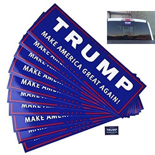 [10 Pack Donald Trump for President Make America Great Again Bumper Sticker] (25 Cents Costume)