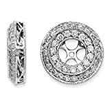 14k White Gold Polished Diamond Earrings Jackets