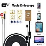 Wireless Endoscope, DaSinKo 2 in 1 WiFi Borescope Inspection Camera 2.0 Megapixels 6 Leds 5M Rigid Cable with 1M flexible Cable IP67 Tube Waterproof HD Snake Camera,Gold