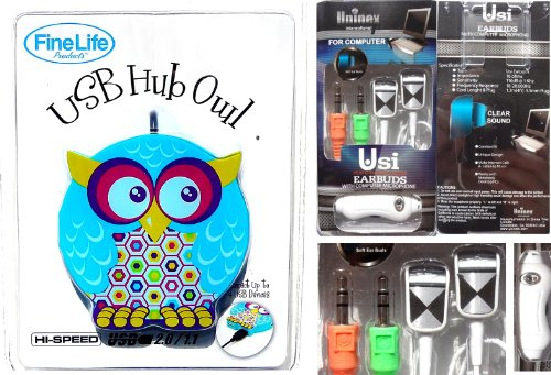 Best Owl USB Hub & Computer Earbuds Gift Set Teenage Girl Electronic Accessory Women Girlfriend (Style 7) by TravelNut Unique Hip & Trendy Unique Weird Birthday Stocking Stuffer Christmas Gift Idea