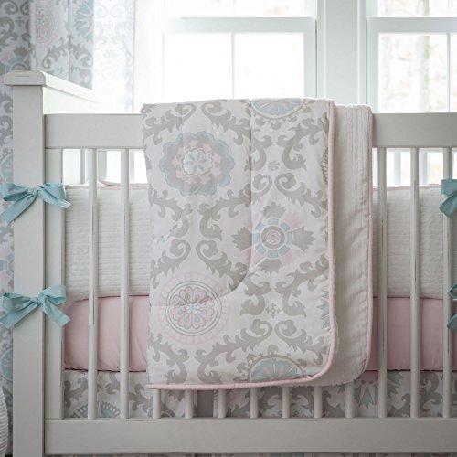 Carousel Designs Pink and Gray Rosa Crib Comforter