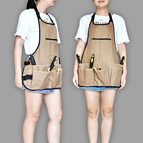 BOJECHER Tool Apron - Professional Heavy Duty Work Apron with 14 Tool Pockets and Adjustable Belt Water-resistant Gardening Woodshop Aprons for Men & Women, Carpenters Bakers and Machinists by BOJECHER (Image #5)