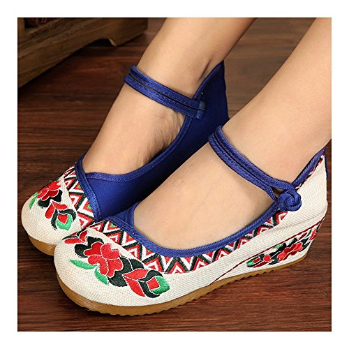 Shoes Cloth Flax Embroidered 35 Old blue Beijing Ttqnf