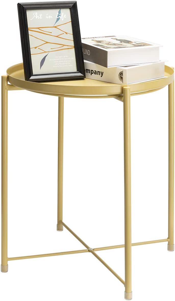 danpinera End Table, Side Table Metal Waterproof Small Circular Bedside Table with Round Removable Tray for Living Room Bedroom Bathroom Balcony and Office (Pale Yellow)