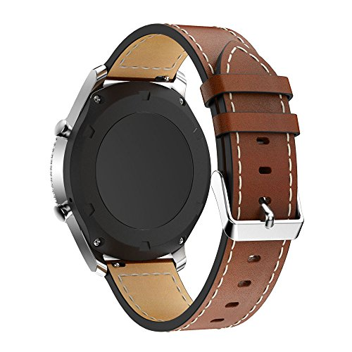Elite Cotton Pebbles - Jewh Leather Watch Bracelet Strap - Strap Band for Samsung Gear S3 - Samsung Leather Watch Band - Replacement Wristband for Samsung Gear S3 Frontier Soft Comfortable (Brown)
