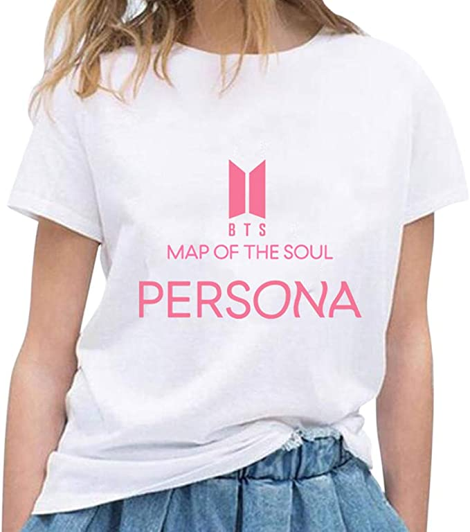 APHT Unisex BTS Map of The Soul Persona Album Maglietta Estate Fans Manica Corta Casual T-Shirt Hip Pop Top Bangtan Boys Tee
