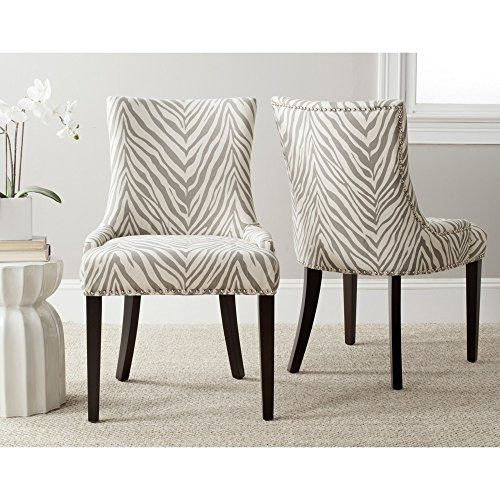 Safavieh Mercer Collection Lester Dining Chairs, Zebra Grey, Set of 2 -  MCR4709Q-SET2
