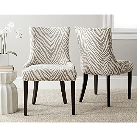 Safavieh Mercer Collection Lester Dining Chairs Zebra Grey Set Of 2