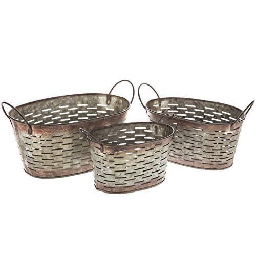 Galvanized Rustic Metal Small Oval Olive Buckets with Handles, Set of 3 Flower Pots (Sale For Buckets Small Metal)