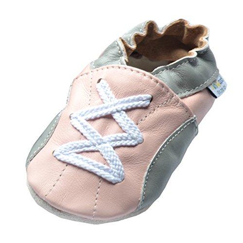 Jinwood designed by amsomo Verschiedene Modelle - Hausschuhe - Echt Leder - Lederpuschen - Krabbelschuhe - Mädchen - Jungen - Soft Sole - Mini Shoes Div. Groeßen 17/19-35/36 sport pink soft sole