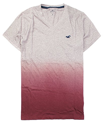 Hollister Men's Must-Have V Neck T-Shirt HOM V (Small, Maroon Ombre 1039)