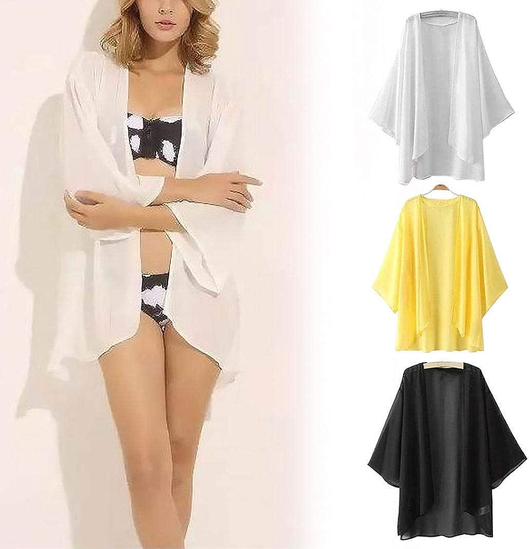 geSlnsXhil Womens Tops Summer Women Chiffon Solid Color Open Front Kimono Bikini Cover Up Cardigan Coat