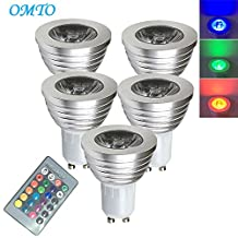 OMTO GU10 3W RGB Color Changing Spotlight with IR Remote Control Mood Ambiance Lighting 16 Color Changing LED Light Bulbs,Dimmable 85-265V (Pack of 5)
