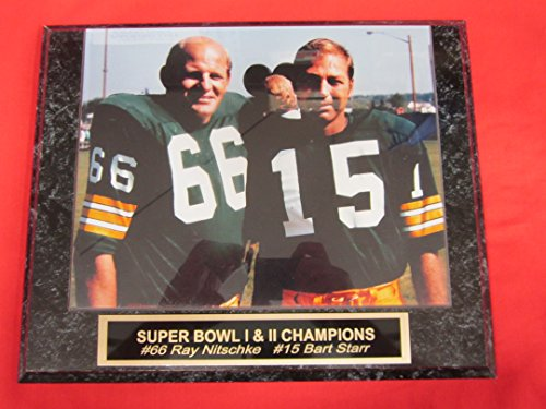 Bart Starr Ray Nitschke Green Bay Packers Collector Plaque w/8x10 VINTAGE Color Photo (Ray Green Nitschke Packers Bay)