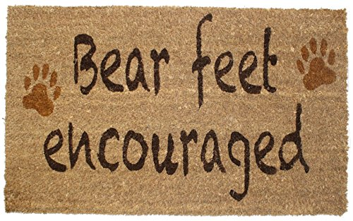 "J & M Home Fashions Bear Feet Vinyl Back Coco Doormat, 18"" x"