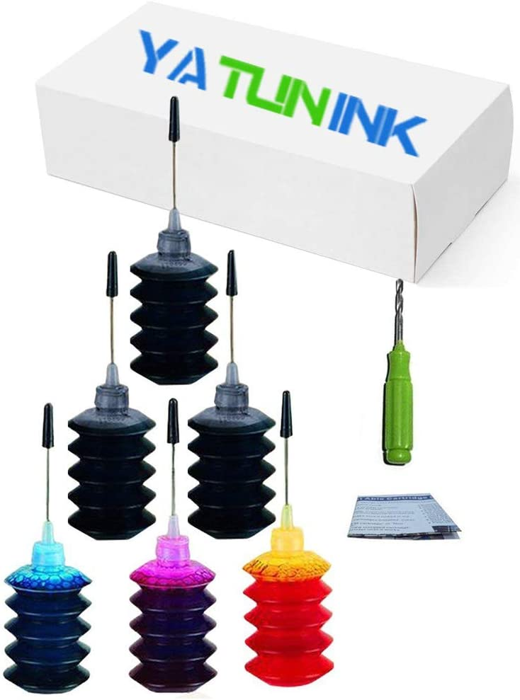 YATUNINK Premium Refill Ink Kit for HP 62 Ink Cartridges Envy 7640 5640 5660 7645 5643 5644 5642 5646 OfficeJet 5740 5742 5745 Printers (30ML X 6 Pack)