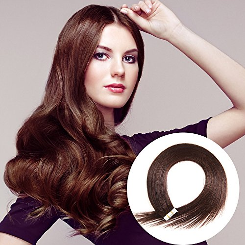Tape in Human Hair Extensions 16 inches 20pcs 40g Silky Straight Remy Tape Hair Extensions Color 2 Darkest Brown
