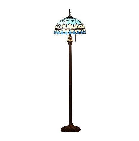 Lámpara de pie Tiffany-style moderno azul Mediterráneo LED ...