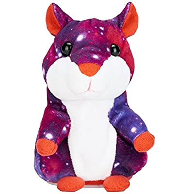 AnyBack Talking Hamster Repeats What You Say, Plush Interactive Toys Pro Cute Mimicry Pet Speak Talking Record Hamster Mouse Electronic Stuffed Animals for Kids Toddler Party Starry Sky: Toys & Games