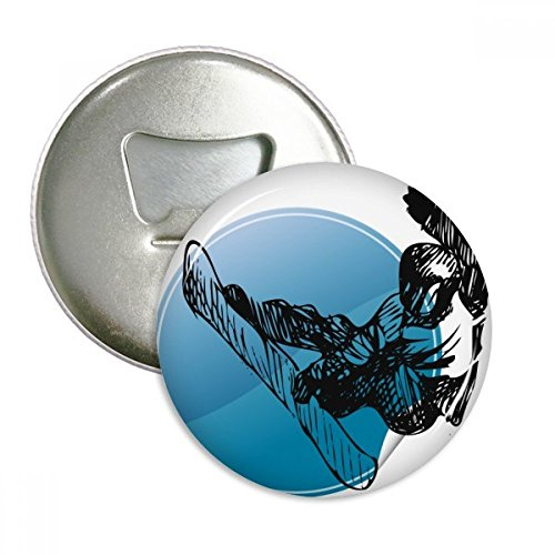 (Winter Sport Skiing Illustration Pattern Round Bottle Opener Refrigerator Magnet Pins Badge Button Gift 3pcs)