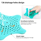 Awekris Pack of 4 Hair Catcher Starfish Shower Drain Cover Kitchen Sink Strainers, Drain Protector Blue & White