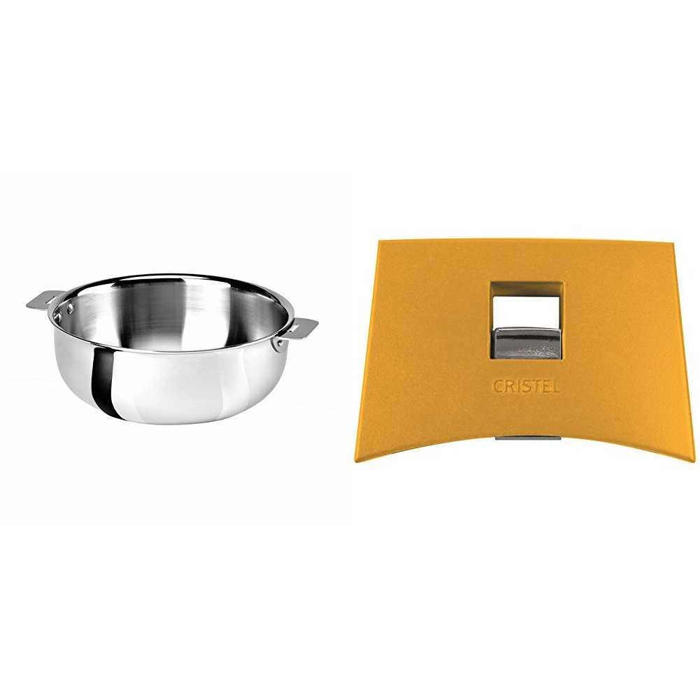 Cristel SR22QMP Saucier, Silver, 3 quart with Cristel Mutine Plmaj Side Handle, Yellow