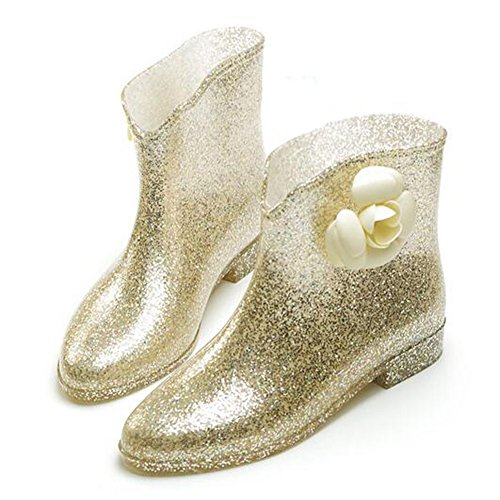 Rain Meijunter Shoes Rainboots Princess Korean Flower Waterproof slip Gold Rubber Womens Non Boots Zw1RfgZq