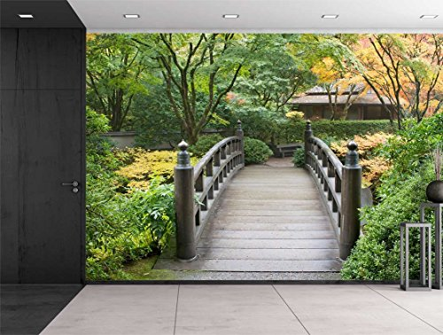 Wall26   Bridge On A Serene Japanese Garden Surrounded By Trees   Wall Mural,  Removable Sticker, Home Decor   100x144 Inches Part 88