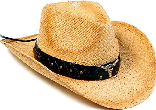Livingston Men & Women's Woven Straw Cowboy Hat w/Hat Band Décor, Bull Beige