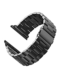 LNKOO Stainless Steel Metal Clasp Watchbands Replacement Wrist Strap Classic Buckle Polishing Watch Bands for Apple Watch iWatch 38/42mm-Black/42mm