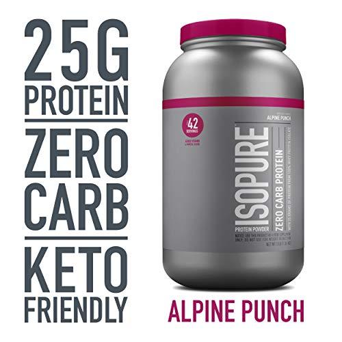Isopure Zero Carb, Keto Friendly Protein Powder, 100% Whey Protein Isolate, Flavor: Alpine Punch, 3 Pounds