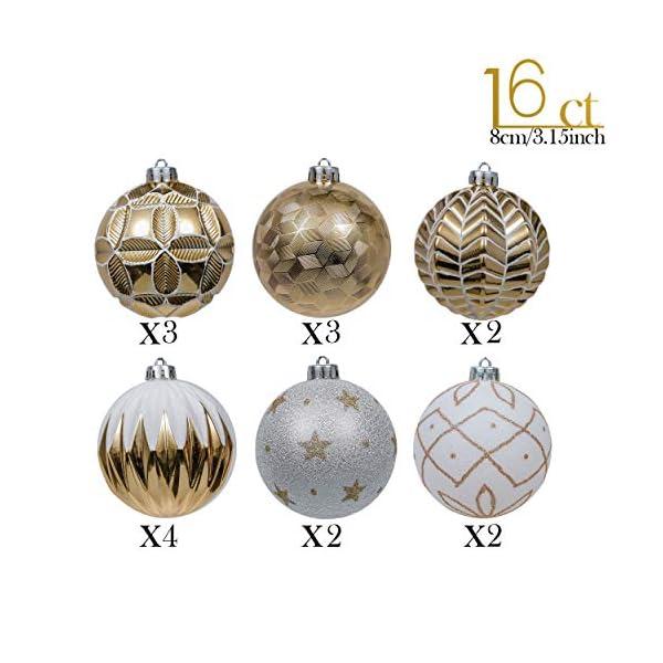 Valery Madelyn Palle di Natale 16 Pezzi 8cm Palline di Natale, Eleganti Ornamenti di Palle di Natale Infrangibili in Oro e Bianco per la Decorazione Dell'Albero di Natale 3 spesavip