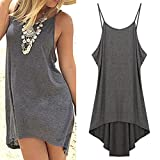 KMG Kimloog Women Halter Backless Sleeveless Irregular Casual Short Mini Dresses Party Beach Sundress (L, Gray)