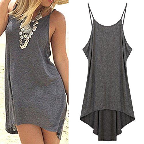 Kimloog Women Halter Backless Sleeveless Irregular Casual Short Mini Dresses Party Beach Sundress (L, Gray)