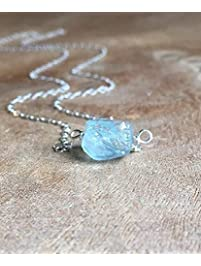 """Dainty Raw Aquamarine Necklace 16"""" Sterling Silver Chain"""