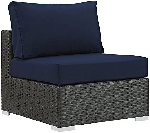 Modway EEI-1854-CHC-NAV Sojourn Wicker Rattan Outdoor Patio Coffee Table, Armless Chair, Canvas Navy
