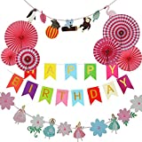 17Tek Birthday Party Supplies - Happy Birthday Decorations Banner, Paper Fans, Jungle Animal Flag Decorations, Princess Flag Decorations, Forest Theme Birthday Party Festival Party