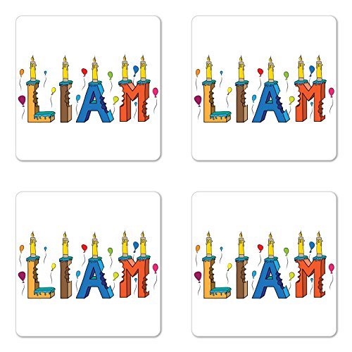 Ambesonne Liam Coaster Set of Four, English First Name in a Colorful Letter Style Cake Design with Bite Marks and Candles, Square Hardboard Gloss Coasters for Drinks, (Mark Square Candle)