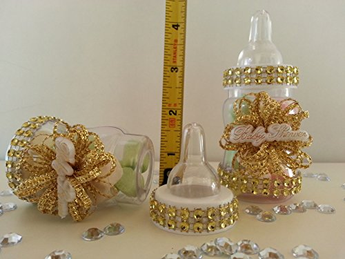 12 Gold Fillable Bottles for Baby Shower Favors Prizes or Games Girl Decorations by baby shower 789 (Image #2)