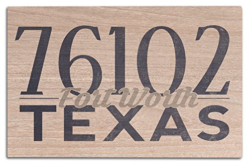 Fort Worth, Texas - 76102 Zip Code (Blue) (12x18 Wood Wall Sign, Wall Decor Ready to Hang) (Fort Worth 76102)