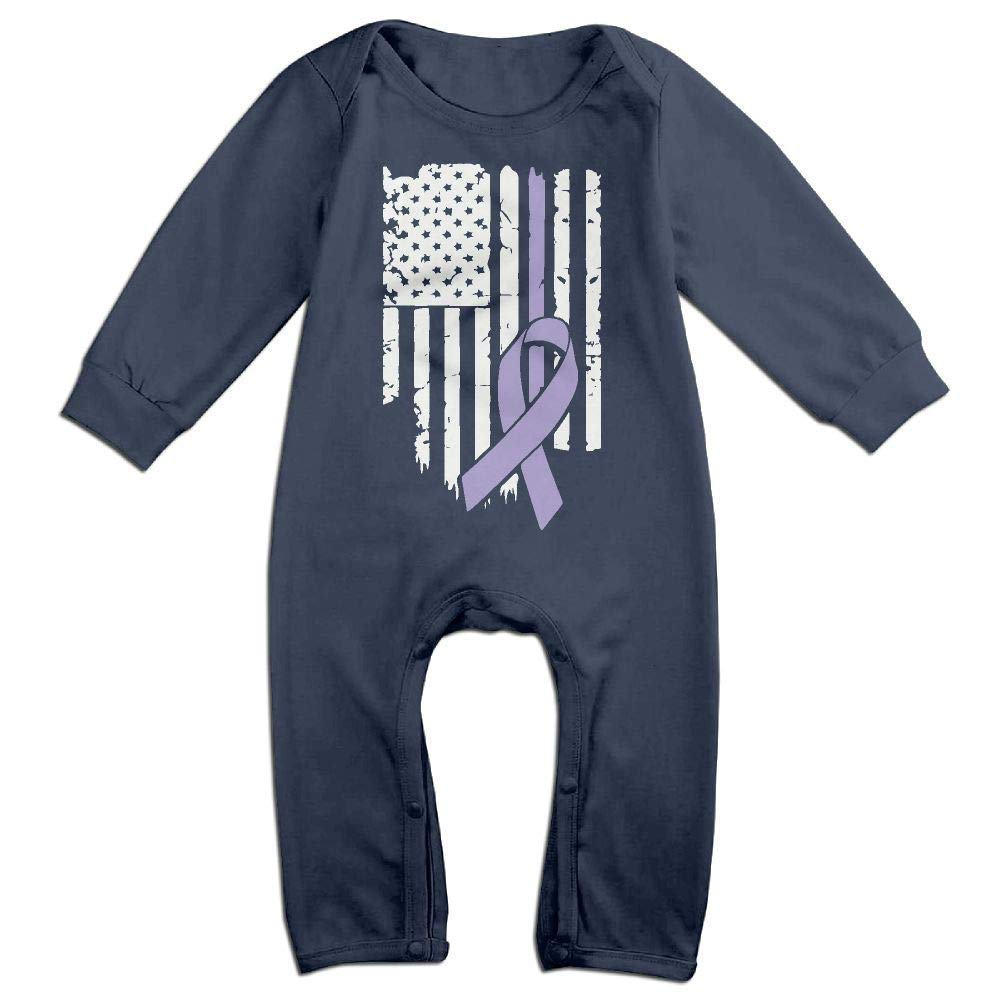 TYLER DEAN Newborn Kids Coverall USA Flag Testicular Cancer Awareness-1 Baby Rompers