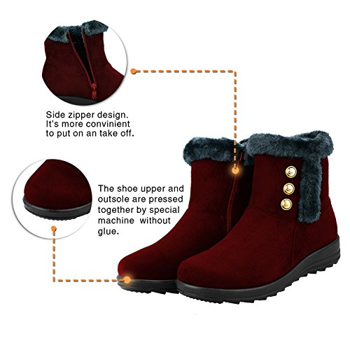 Boots Boot Winter Women's Red Closure Snow Zipper Outdoor qapxwYx4H
