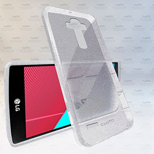 LG G4 Case - Cellto [Soft Flexible] G IV Case SlimNEW [Precision Fit] Premium Flex Soft TPU Case - Retail Eco-Packaging - Thin Case for LG G4 (2015) - Clear with Glitter Sparkle