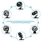 ANTMONA Battery Operated Fan, Clip on Fan, Portable/Rechargeable/Desk/Stroller Fan with 360 Degree Rotation, 2600mAh Battery for Baby Stroller, Car, Gym, Office, Outdoor, Traveling, Camping