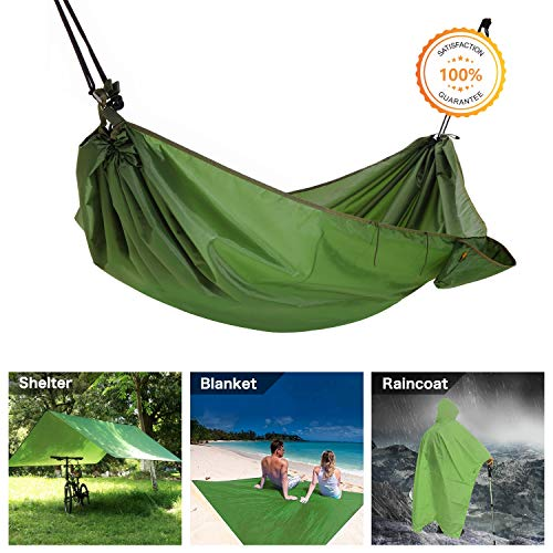 Multifunction Camping Hammock, 4 In 1 Outdoor Camping Hammock - Multifunction Waterproof Hammock Rain Fly Tent Tarp - Camping Blanket - Raincoat for Camping Picnic Blanket Hiking Outdoors Activities ()