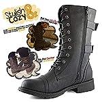 Minetom Femmes Bottines Militaire Fermeture Éclair Lacets Bottes de Combat Automne Hiver Chelsea Bottes Chaussures… 7