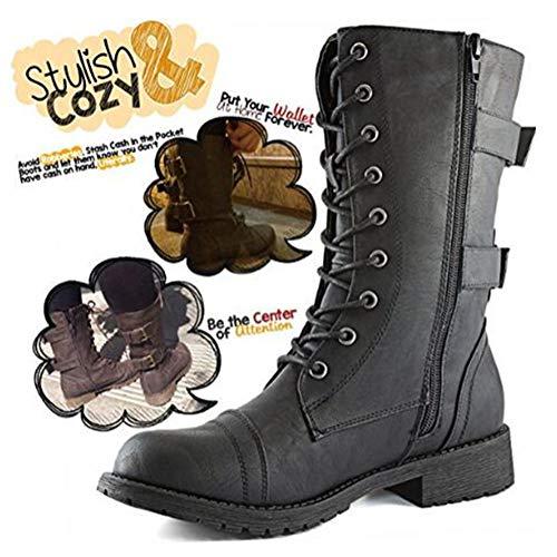 Minetom Femmes Bottines Militaire Fermeture Éclair Lacets Bottes de Combat Automne Hiver Chelsea Bottes Chaussures… 2