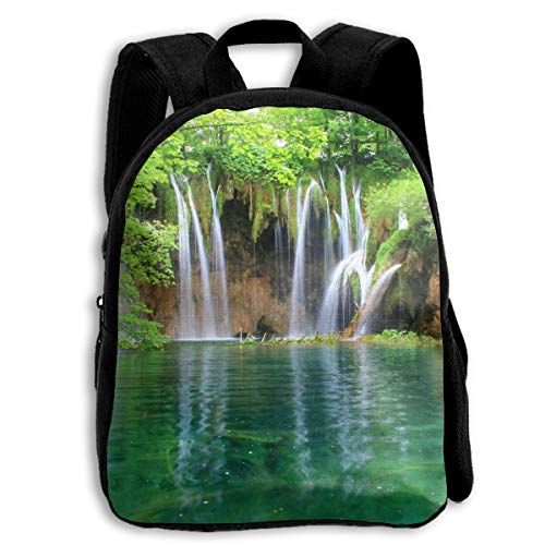 Liumong The Waterfall Merges Into The Lake in The Jungle Children Multi-Function Mini Casual Outdoor Travel Book Middle School Backpack 13 Laptop Computer Bag Pocket Zipper